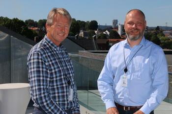 Konsernsjef Knut Barland og konserndirektør Kristian Norheim har begge sentrale roller i det nye initiativet for å skape vekst i Grenland. Foto: Kjell Løyland.