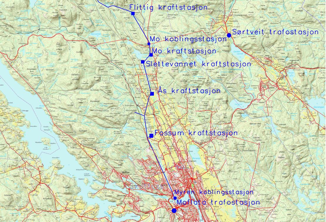 Kartet viser et utsnitt av nettet som Skagerak Nett har overtatt fra Løvenskiold Fossum Kraft AS fra Myren i sør til Svanstul i nord (overtatt nett markert i blått).  Illustrasjon: Skagerak Nett AS