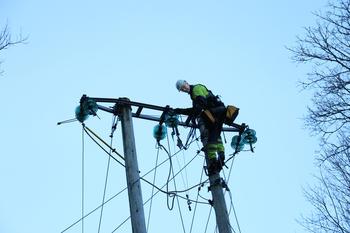Ved Ragnhildrødvann i Oklungen i Porsgrunn falt et tre over en 22 kV-ledning som igjen falt ned på jernbanens strømforsyning.  FOTO: KJELL LØYLAND