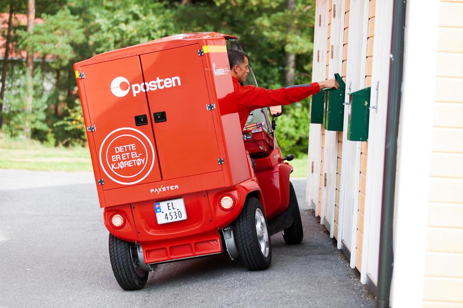 Posten har de siste årene satset stort på el-kjøretøy. Her ved den innovative og Østfold-produserte Paxter.  FOTO: LOYDS PAXTER.